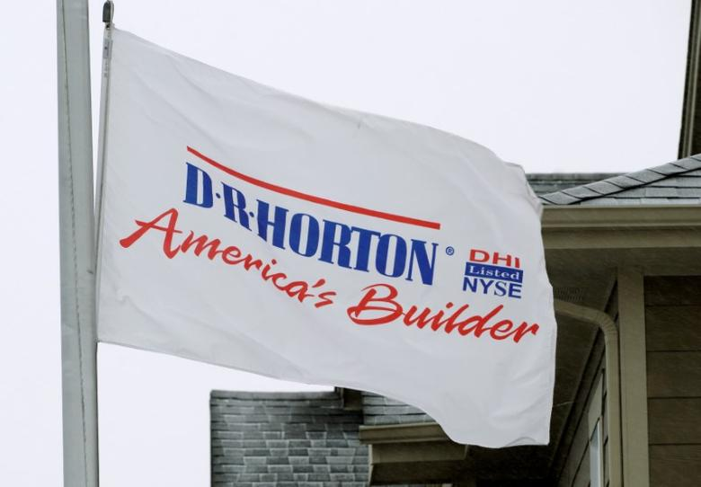 A flag outside a house built by the D.R. Horton company is seen in Arvada, Colorado January 24, 2017. REUTERS/Rick Wilking