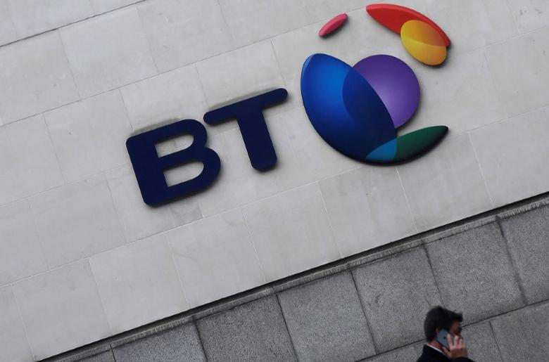 FILE PHOTO: The logo for the British Telecom group is seen outside of offices in the City of London, Britain, January 16 , 2017. REUTERS/Toby Melville/File Photo