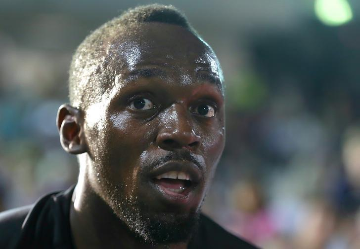 Jamaica's Olympic champion Usain Bolt reacts as he greets members of the crowd during the second night of the Nitro Athletics series at the Lakeside Stadium in Melbourne, Australia, February 9, 2017.     REUTERS/Hamish Blair/Files