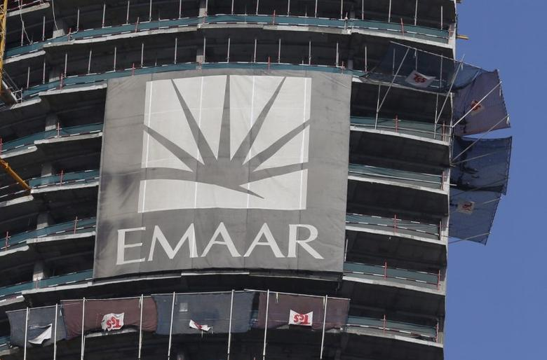 A logo of Dubai's Emaar Properties is seen at an under-construction building in Dubai, UAE, March 3, 2016. REUTERS/Ahmed Jadallah/File Photo