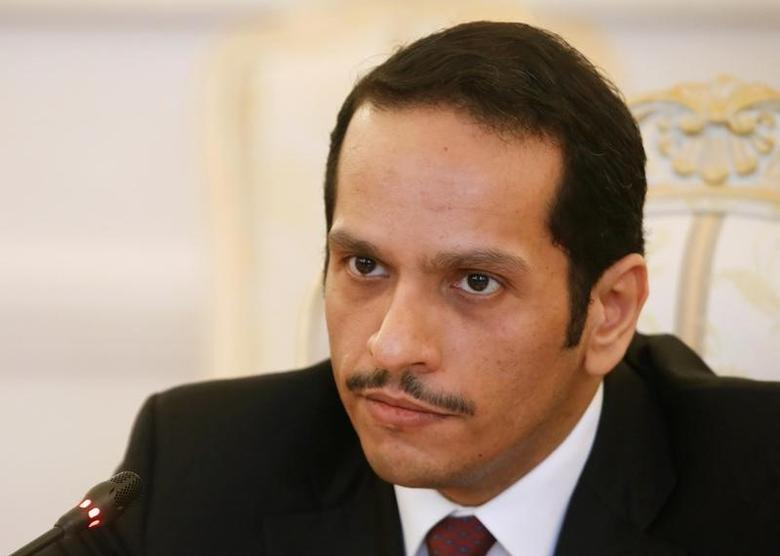 FILE PHOTO: Qatari Foreign Minister Sheikh Mohammed bin Abdulrahman bin Jassim Al-Thani attends a meeting with Russian Foreign Minister Sergei Lavrov in Moscow, Russia, April 15, 2017. REUTERS/Maxim Shemetov /File Photo