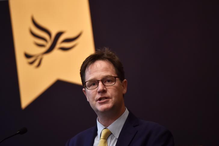 Formal Liberal Democrat leader Nick Clegg speaks at a campaign event in London, Britain, May 2 2017. REUTERS/Hannah McKay