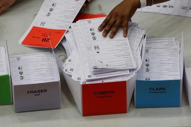 6月8日、英総選挙(下院、定数650)が実施され、出口調査によると、メイ首相率いる与党・保守党の獲得議席は314議席となり、過半数には届かない見込み。写真は集計される投票用紙。ロンドンで9日撮影(2017年 ロイター/Darren Staples)