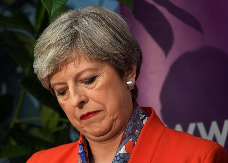 Britain's Prime Minister Theresa May waits for the result of the vote in her constituency at the count centre for the general election in Maidenhead, June 9, 2017. REUTERS/Toby Melville