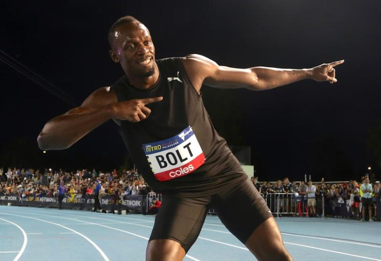 FILE PHOTO: Jamaica's Olympic champion Usain Bolt poses after running during the final night of the Nitro Athletics series at the Lakeside Stadium in Melbourne, Australia, February 11, 2017.  REUTERS/Hamish Blair