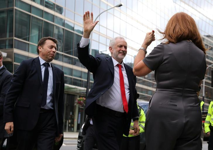 Jeremy Corbyn, leader of Britain's opposition Labour Party, arrives at the Labour Party's Headquarters in London, Britain June 9, 2017. REUTERS/Marko Djurica