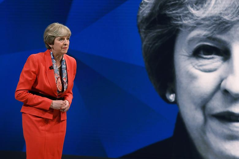 Prime Minister Theresa May appears on a joint Channel 4 and Sky News general election programme recorded at Sky studios in Osterley, west London. REUTERS/Stefan Rousseau/Pool