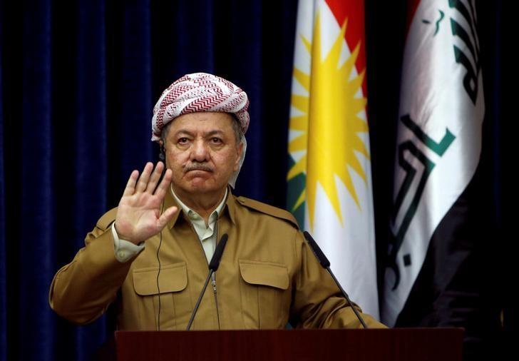Iraq's Kurdistan region's President Massoud Barzani gestures during a joint news conference with German Foreign Minister Sigmar Gabriel (not pictured) in Erbil, Iraq April 20, 2017. REUTERS/Azad Lashkari/Files
