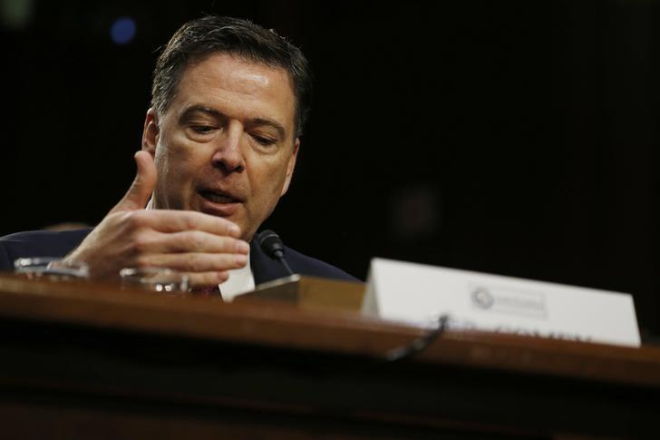 Former FBI Director James Comey testifies before a Senate Intelligence Committee hearing on Russia's alleged interference in the 2016 U.S. presidential election on Capitol Hill in Washington, U.S., June 8, 2017. REUTERS/Jonathan Ernst