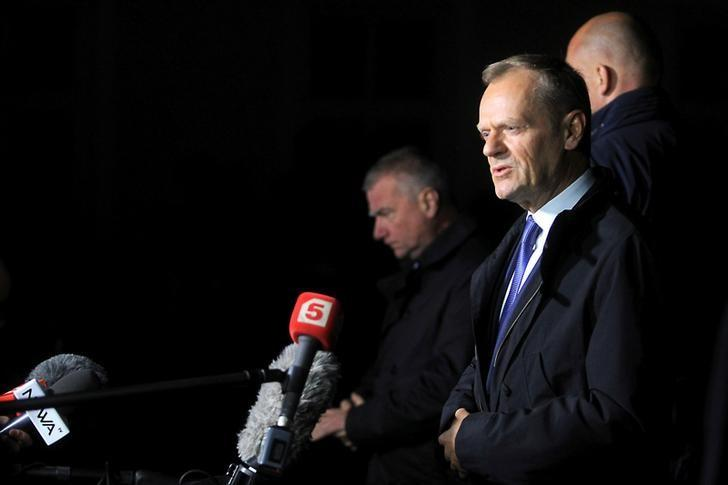 Donald Tusk, the President of the European Council speaks to the media after hearings at the Prosecutor's office in Warsaw, Poland April 19, 2017. Agencja Gazeta/Przemek Wierzchowski via REUTERS/Files