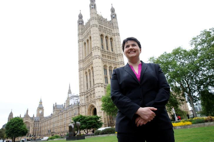 Ruth Davidson, the leader of the Conservative Party in Scotland, poses for photographers outside the Houses of Parliament in central London, Britain May 15, 2017. REUTERS/Stefan Wermuth/Files