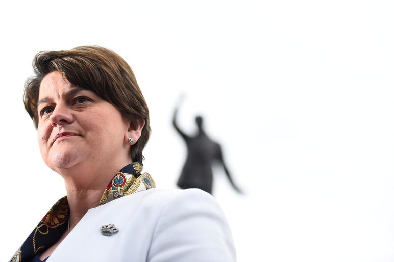 FILE PHOTO: Leader of the Democratic Unionist Party (DUP) Arlene Foster speaks to media outside Stormont Parliament buildings in Belfast, Northern Ireland March 6, 2017. REUTERS/Clodagh Kilcoyne/File Photo
