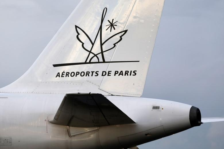 A plane used for training exercises by fire and rescue crews is seen with the logo of ADP (Groupe Aeroports de Paris) on the tarmac of Charles de Gaulle Airport in Roissy, north of Paris, December 8, 2014. REUTERS/Charles Platiau