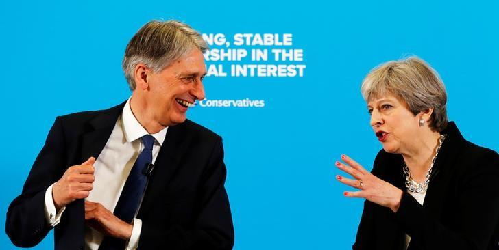 Britain's Prime Minister Theresa May and Chancellor of the Exchequer Philip Hammond attend a news conference in London's Canary Wharf financial district, May 17, 2017. REUTERS/Stefan Wermuth/Files