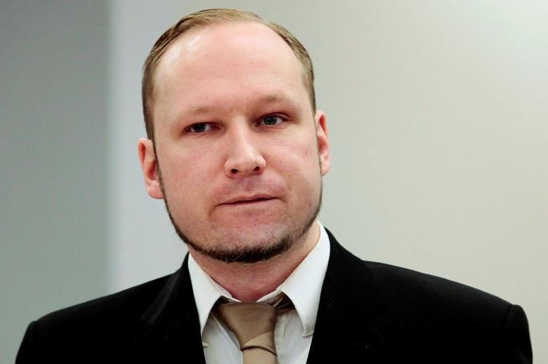 FILE PHOTO: Norwegian mass killer Anders Behring Breivik attends the second day of his murder trial in Oslo, Norway, April 17, 2012.  REUTERS/Hakon Mosvold Larsen/Pool/File Photo
