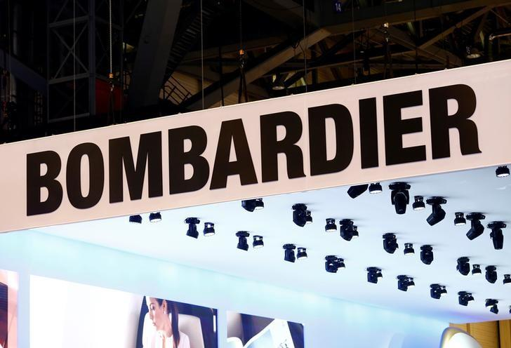 A logo of jet manufacturer Bombardier is pictured on their booth during the European Business Aviation Convention & Exhibition (EBACE) in Geneva, Switzerland, May 22, 2017.  REUTERS/Denis Balibouse/files