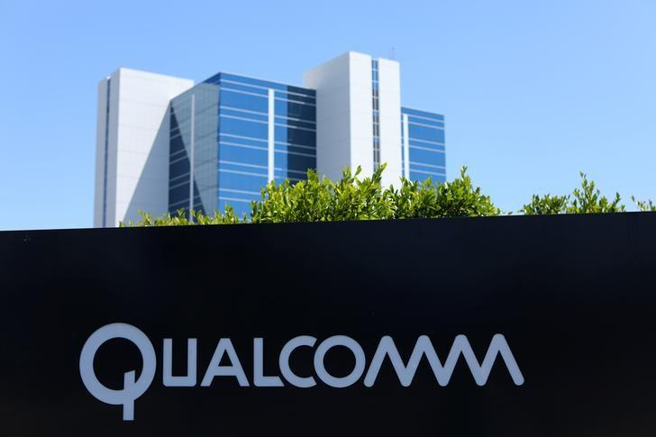 A Qualcomm sign is pictured at one of its many campus buildings in San Diego, California, U.S. April 18, 2017.  REUTERS/Mike Blake/Files