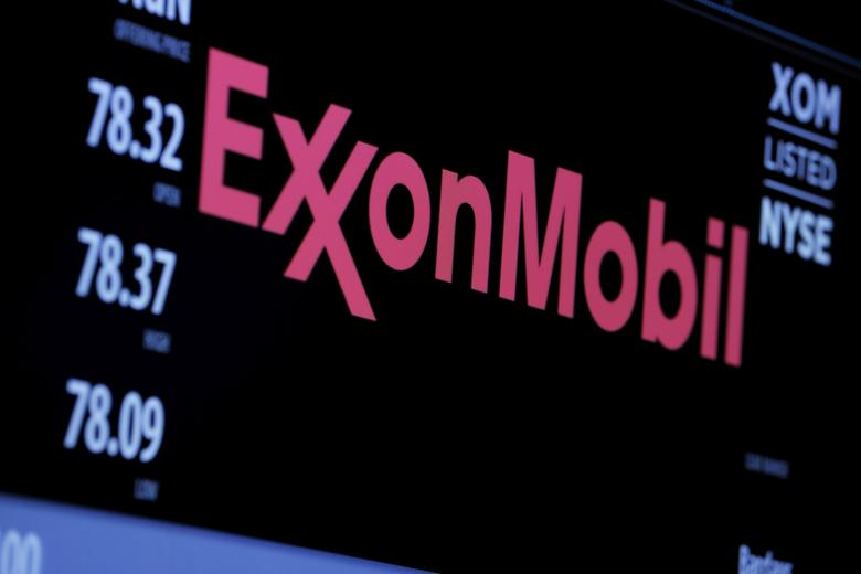 FILE PHOTO: The logo of Exxon Mobil Corporation is shown on a monitor above the floor of the New York Stock Exchange in New York, December 30, 2015. REUTERS/Lucas Jackson/File Photo
