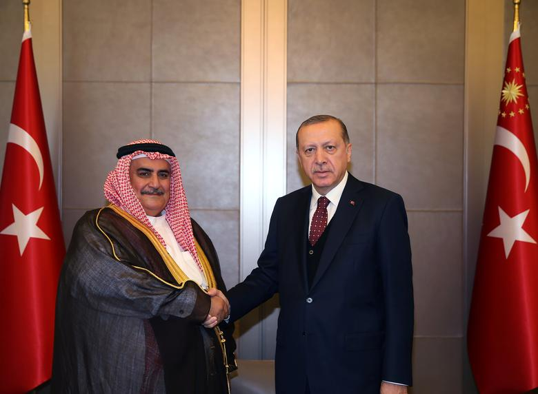 Turkish President Tayyip Erdogan meets with Bahrain's Foreign Minister Shaikh Khalid bin Ahmed bin Mohammed Al Khalifa in Istanbul, Turkey June 10, 2017. Yasin Bulbul/Presidential Palace/Handout via REUTERS