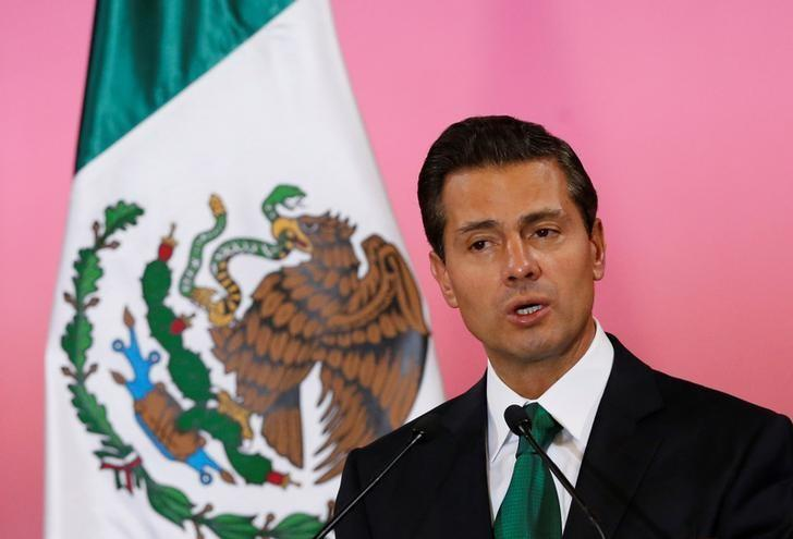 Mexico's President Enrique Pena Nieto speaks next to Germany's Chancellor Angela Merkel (not pictured) during a news conference at National Palace in Mexico City, Mexico June 9, 2017. REUTERS/Henry Romero/Files