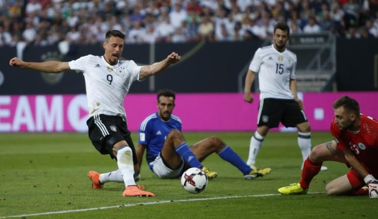 Football Soccer - Germany v San Marino - 2018 World Cup Qualifying European Zone - Group C - Stadion Nurnberg, Nuremberg - June 10, 2017 Germany's Sandro Wagner scores their third goal  Reuters / Michaela Rehle Livepic