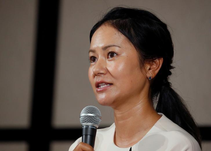 FILE PHOTO: Former women's world number one golfer Ai Miyazato of Japan attends a news conference to announce her retirement in Tokyo, Japan May 29, 2017. REUTERS/Issei Kato/Files