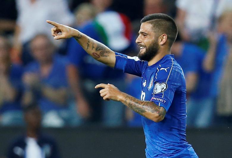 Football Soccer - Italy vs Liechtenstein - 2018 World Cup Qualifiers - Friuli Stadium, Udine, Italy - 11/06/17 - Italy's Lorenzo Insigne celebrates after scoring. REUTERS/Alessandro Garofalo