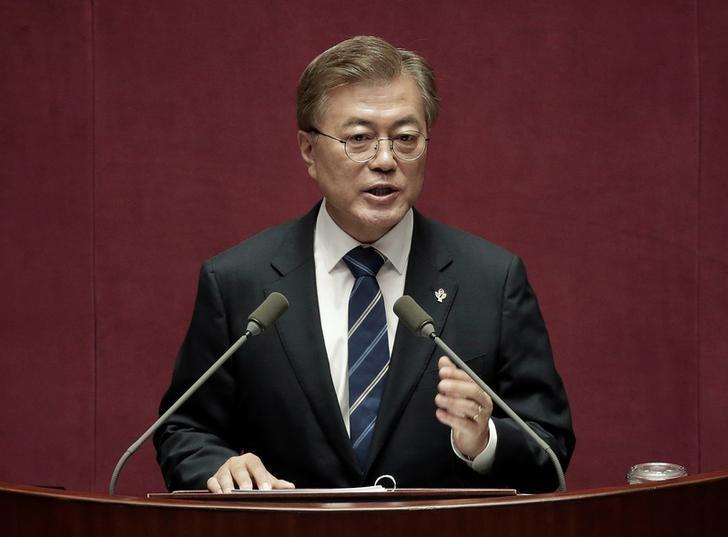 South Korean President Moon Jae-in delivers a speech at the National Assembly in Seoul, South Korea June 12, 2017. REUTERS/Ahn Young-joon/Pool