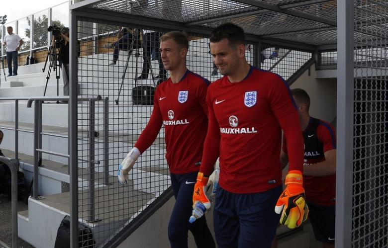 Football Soccer - England Training - Stade Omnisport, Croissy sur Seine, France - June 12, 2017 England's Jack Butland and Tom Heaton during training Action Images via Reuters / Lee Smith Livepic