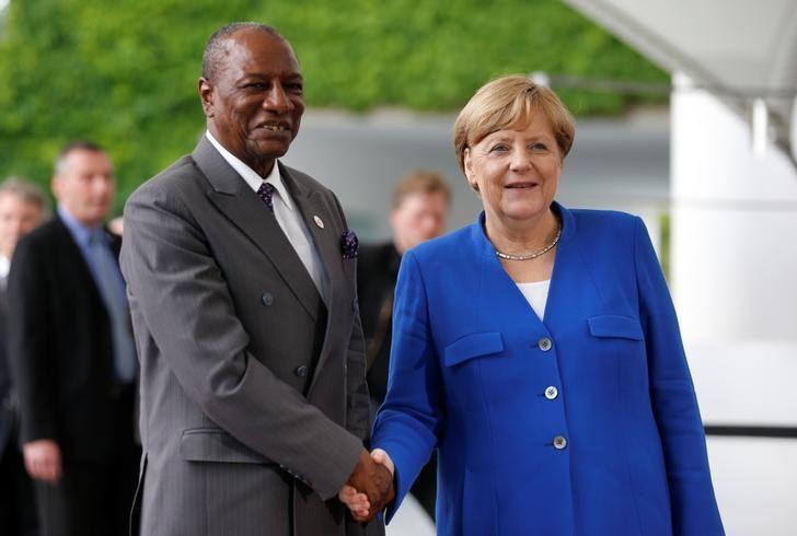 German Chancellor Angela Merkel welcomes Alpha Conde, President of Guinea, at the Chancellery in Berlin, Germany, June 12, 2017.    REUTERS/Axel Schmidt