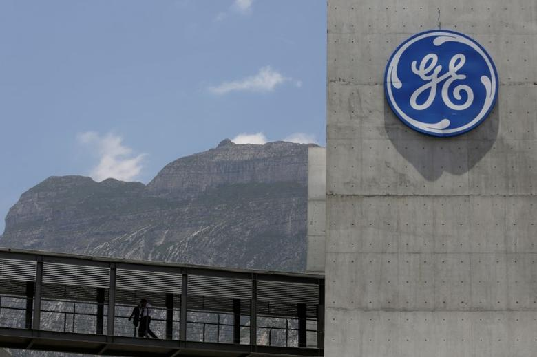 The logo of General Electric Co. is pictured at the Global Operations Center in San Pedro Garza Garcia, neighbouring Monterrey, Mexico, May 12, 2017. REUTERS/Daniel Becerril - RTS16EWE