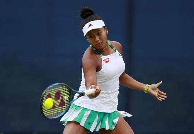 6月12日、女子テニスのエイゴン・オープン、シングルス1回戦、第8シードの大坂なおみ(写真)はクリスティー・アンに1─6、1─6で敗れた(2017年 ロイター)