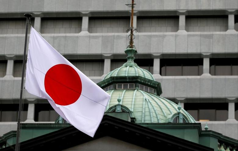A Japanese flag flutters atop the Bank of Japan building in Tokyo, Japan, September 21, 2016. REUTERS/Toru Hanai/File Photo