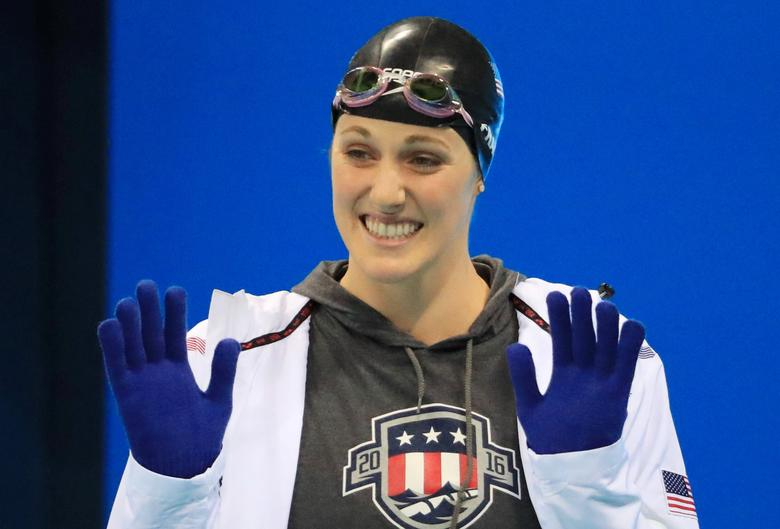 FILE PHOTO: Missy Franklin of USA arrives to compete at the start of the Women's 200m Backstroke Semifinals at the 2016 Summer Olympics in Rio de Janeiro, Brazil, August 11, 2016. REUTERS/Dominic Ebenbichler/File Photo