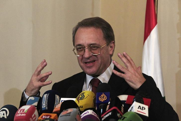 Russia's Deputy Foreign Minister Mikhail Bogdanov talks during a news conference at the Foreign Ministry in Beirut December 5, 2014. REUTERS/Aziz Taher