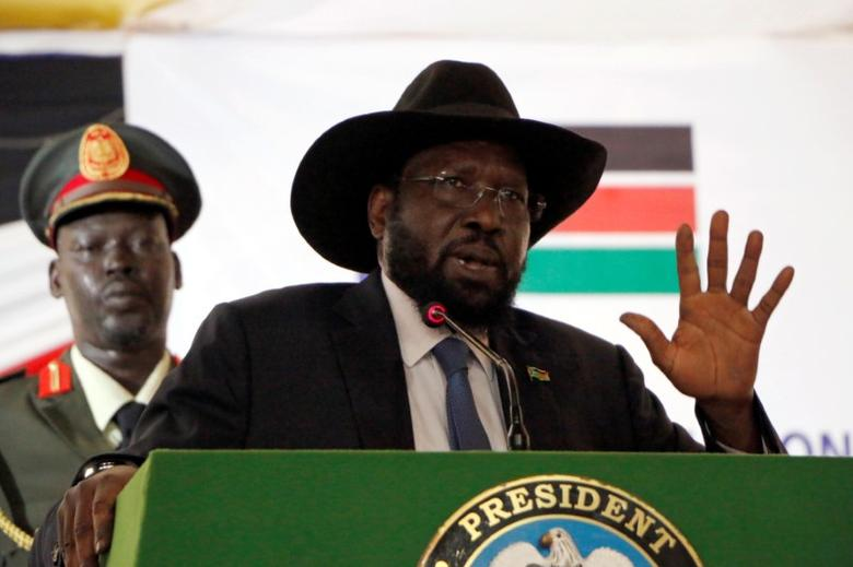South Sudan's President Salva Kiir delivers a speech during the launch of the National Dialogue committee in Juba, South Sudan May 22, 2017. REUTERS/Jok Solomun