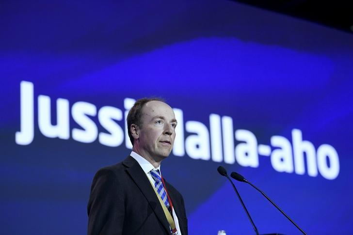 Newly-elected chairman of the Finns Party and Member of the European Parliament Jussi Halla-aho delivers his speech at the Finns Party congress in Jyvaskyla, Finland June 11, 2017. LEHTIKUVA/Jussi Nukari via REUTERS