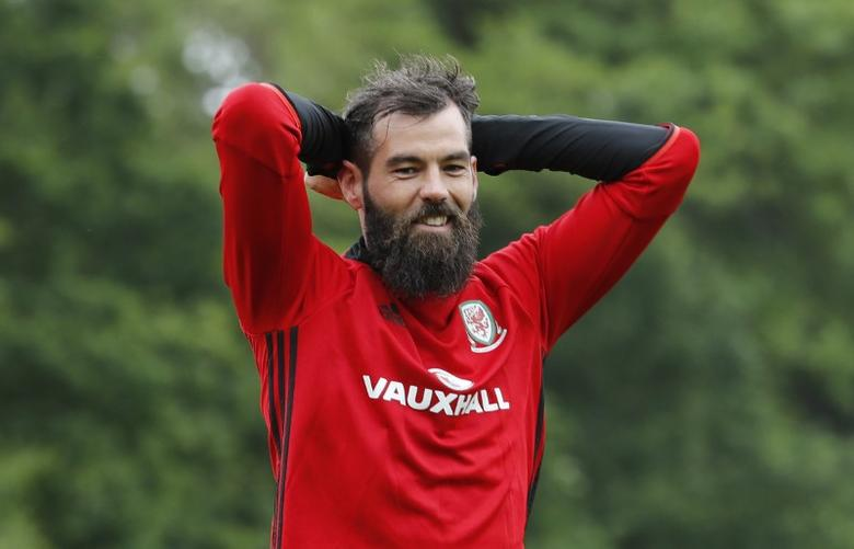 Britain Football Soccer - Wales Training - The Vale Resort, Vale of Glamorgan, Wales - June 10, 2017 Wales' Joe Ledley during training Action Images via Reuters / Carl Recine Livepic