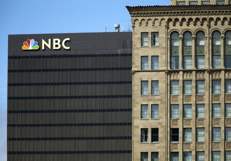 The NBC logo is picture atop their office building in San Diego, California  September 1, 2015. REUTERS/Mike Blake/Files