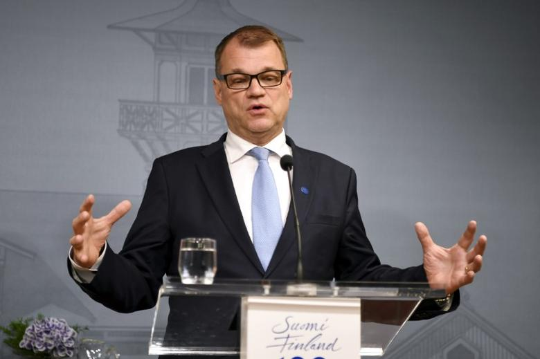 Finnish Prime Minister and Centre Party chairman Juha Sipila attends a news conference at the PM's official residence Kesaranta in Helsinki, Finland, June 12, 2017. LEHTIKUVA/Jussi Nukari/ via REUTERS