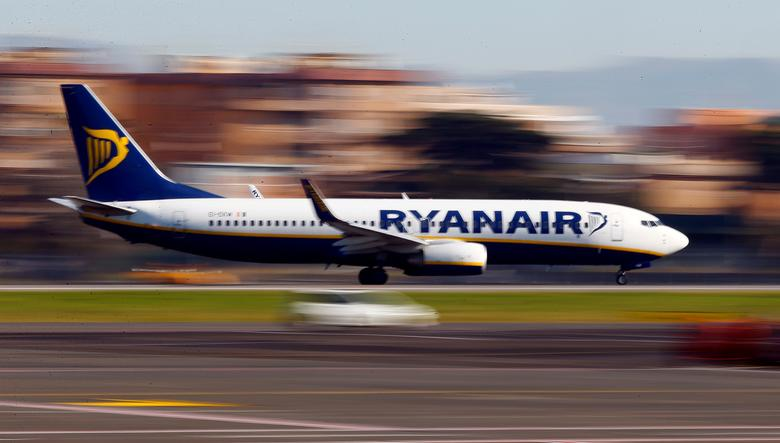 A Ryanair aircraft lands at Ciampino Airport in Rome, Italy December 24, 2016. REUTERS/Tony Gentile/File Photo