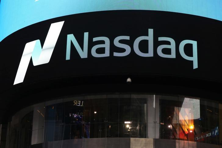 A view of the exterior of the Nasdaq market site in Times Square after the Nasdaq breached the 6,000 mark for the first time ever on Tuesday, in New York City, NY, U.S. April 25, 2017. REUTERS/Shannon Stapleton