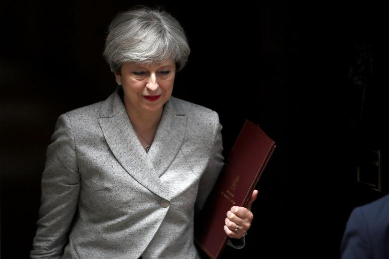Britain's Prime Minister Theresa May, leaves 10 Downing Street in central London, Britain June 13, 2017.  REUTERS/Stefan Wermuth