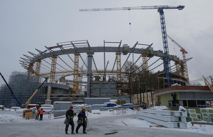 FILE PHOTO - A general view shows the Yekaterinburg Arena stadium under construction, that will host 2018 FIFA World Cup matches, in Yekaterinburg, Russia, December 9, 2016. REUTERS/Maxim Shemetov
