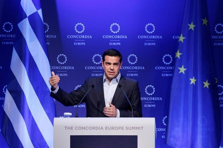 Greek Prime Minister Alexis Tsipras delivers a speech during the Concordia Europe Summit in Athens, Greece, June 7, 2017. REUTERS/Costas Baltas