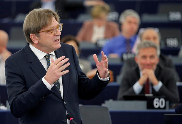 European Union's chief Brexit negotiator Guy Verhofstadt, President of the Group of the Alliance of Liberals and Democrats for Europe (ALDE), addresses the European Parliament during a debate on Brexit priorities and the upcomming talks on the UK's withdrawal from the EU, in Strasbourg, April 5, 2017.  REUTERS/Vincent Kessler