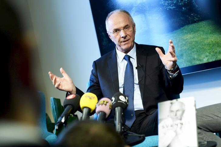 Soccer coach Sven-Goran Eriksson, manager of Chinese Super League team Guangzhou R&F, smiles during a news conference promoting his memoirs in Stockholm November 6, 2013. REUTERS/Claudio Bresciani/TT News Agency/ Files