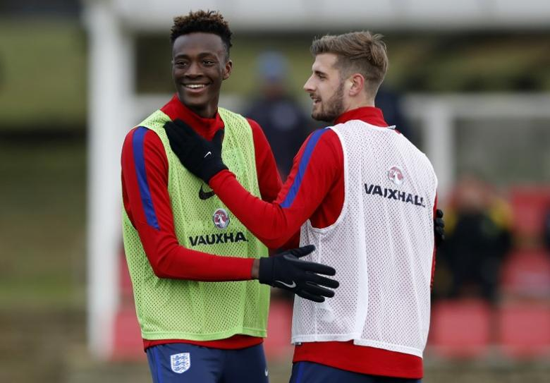 Britain Soccer Football - England Under 21 Training - St George's Park - 9/11/16 England's Tammy Abraham and Jack Stephens during training. Action Images / Carl Recine Livepic
