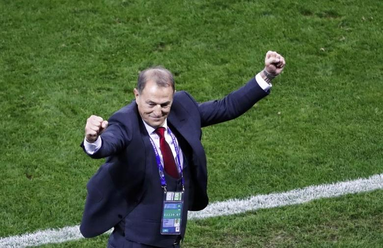 Football Soccer - Romania v Albania - EURO 2016 - Group A - Stade de Lyon, Lyon, France - 19/6/16 - Albania's coach Gianni De Biasi celebrates. REUTERS/Max Rossi  Picture Supplied by Action Images
