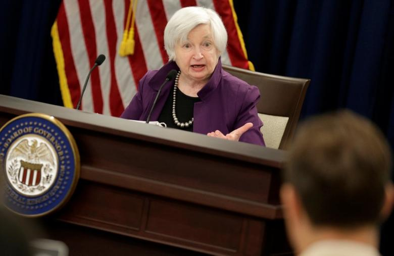 Federal Reserve Board Chairwoman Janet Yellen speak during a news conference after the Fed releases its monetary policy decisions in Washington, U.S., June 14, 2017.   REUTERS/Joshua Roberts